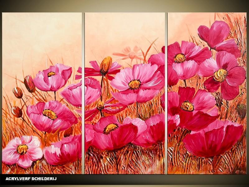 Acryl Schilderij Klaproos | Paars, Crème | 120x80cm 3Luik Handgeschilderd