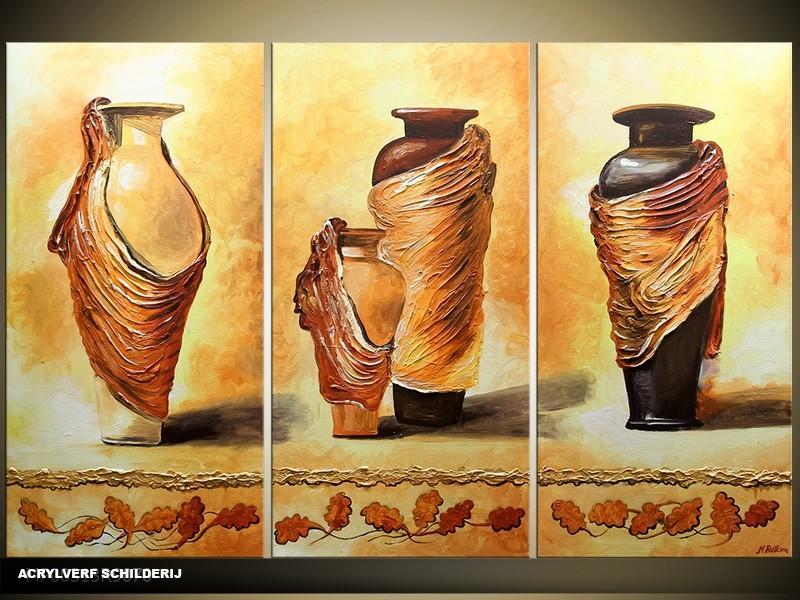 Acryl Schilderij Vazen | Bruin, Geel | 120x80cm 3Luik Handgeschilderd