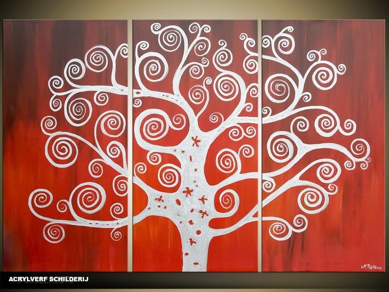 Acryl Schilderij Modern | Rood, Wit | 120x80cm 3Luik Handgeschilderd