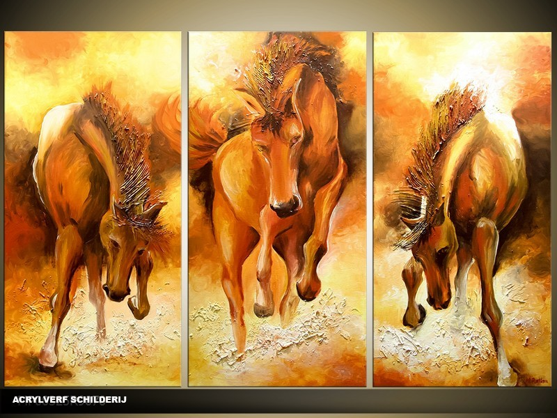 Acryl Schilderij Paarden | Bruin, Geel | 120x80cm 3Luik Handgeschilderd