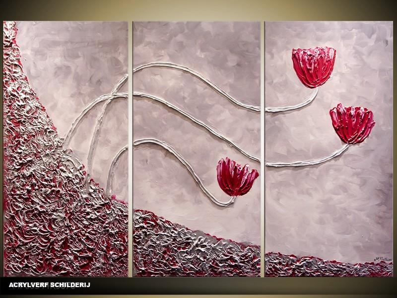 Acryl Schilderij Modern | Rood, Grijs | 120x80cm 3Luik Handgeschilderd