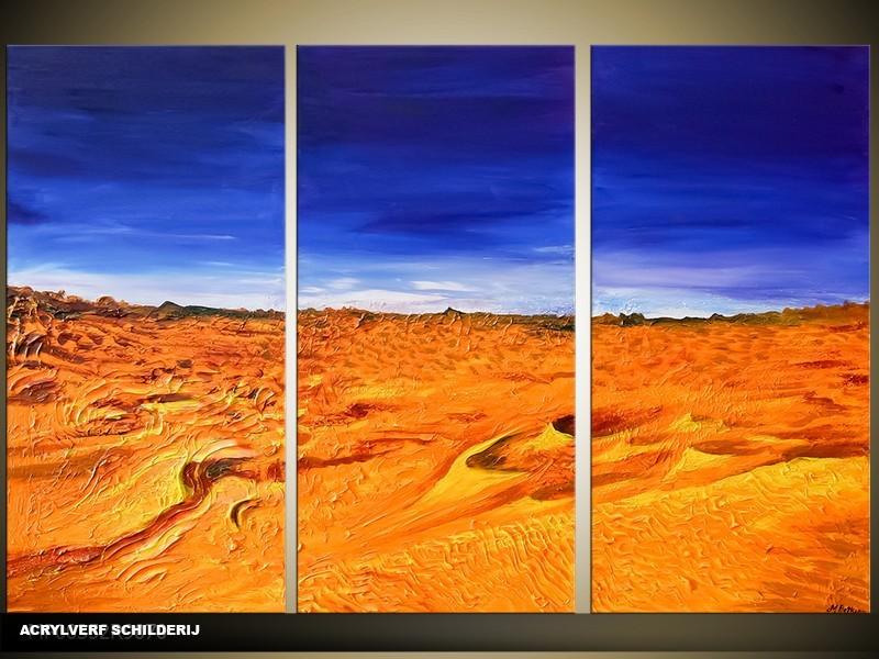 Acryl Schilderij Natuur | Blauw, Oranje | 120x80cm 3Luik Handgeschilderd