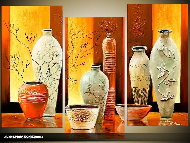 Acryl Schilderij Klassiek | Geel, Bruin | 120x80cm 3Luik Handgeschilderd