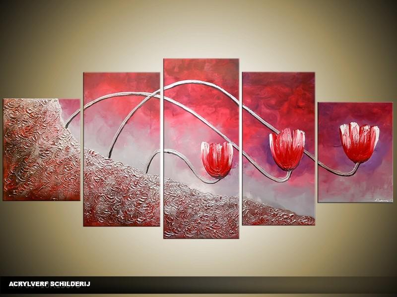 Acryl Schilderij Tulp | Roze, Rood | 150x70cm 5Luik Handgeschilderd