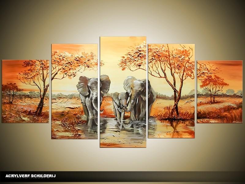 Acryl Schilderij Olifant | Bruin, Crème | 150x70cm 5Luik Handgeschilderd