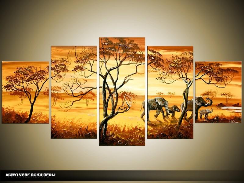 Acryl Schilderij Olifant | Bruin, Geel | 150x70cm 5Luik Handgeschilderd