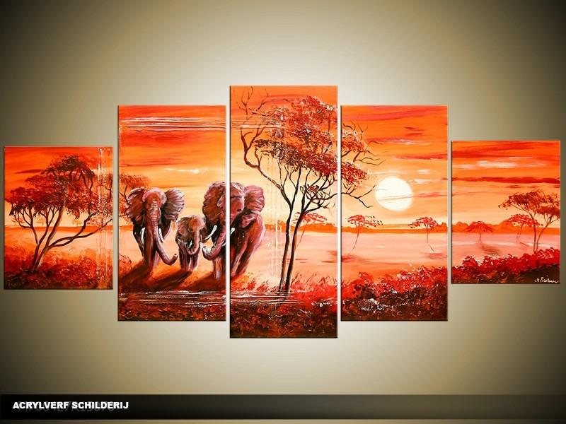 Acryl Schilderij Afrika | Rood, Oranje | 150x70cm 5Luik Handgeschilderd