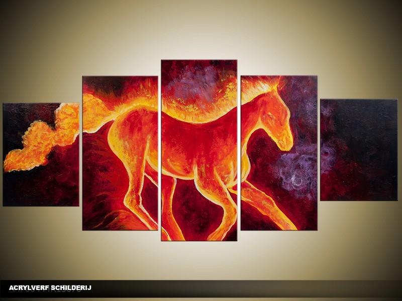 Acryl Schilderij Paard | Rood, Oranje | 150x70cm 5Luik Handgeschilderd