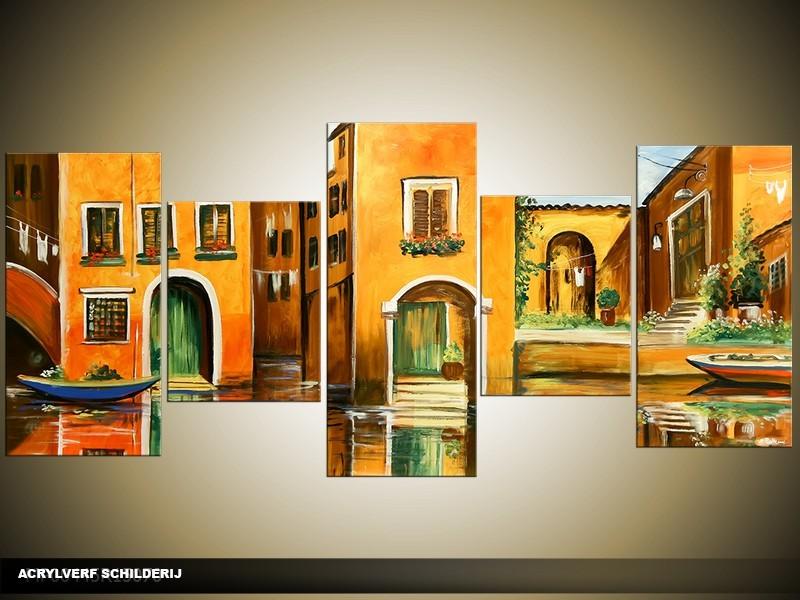 Acryl Schilderij Venetie   Oranje, Groen   150x70cm 5Luik Handgeschilderd