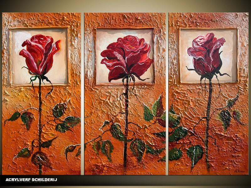 Acryl Schilderij Roos | Bruin | 120x80cm 3Luik Handgeschilderd