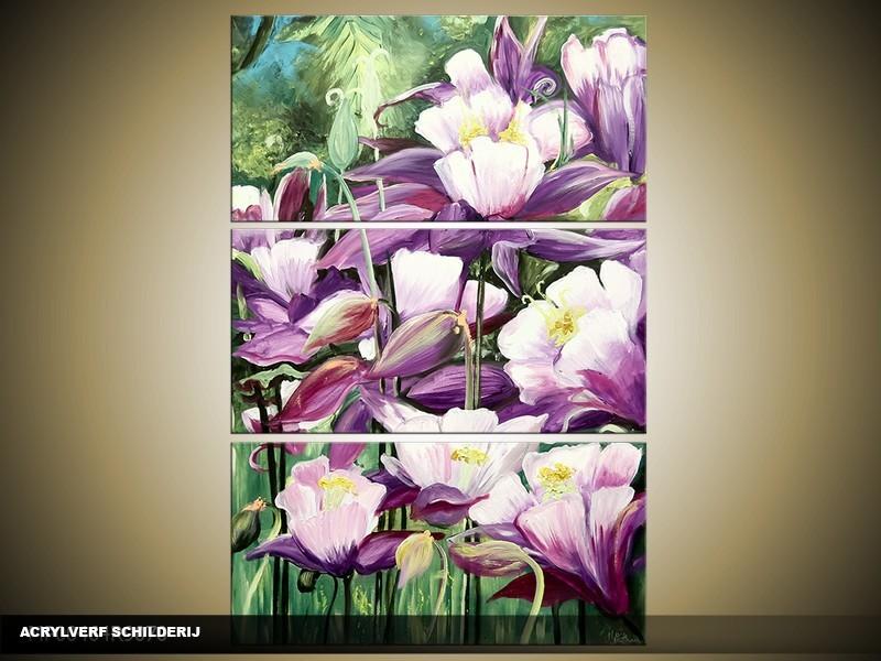 Acryl Schilderij Natuur | Paars, Groen | 80x120cm 3Luik Handgeschilderd