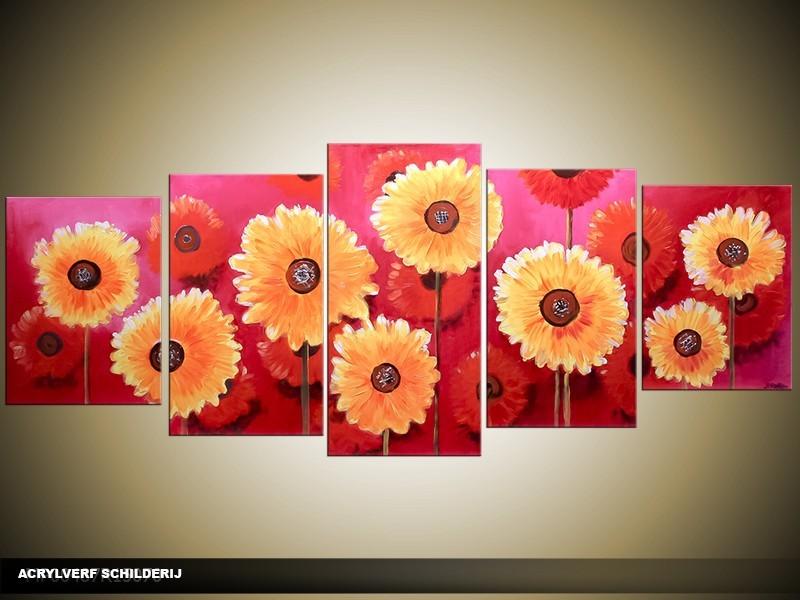 Acryl Schilderij Woonkamer | Oranje, Roze | 150x70cm 5Luik Handgeschilderd