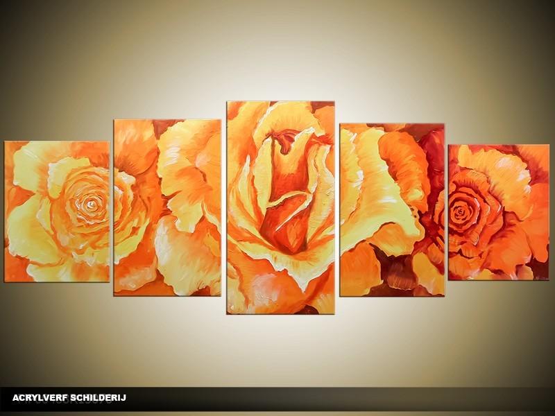 Acryl Schilderij Roos | Oranje | 150x70cm 5Luik Handgeschilderd