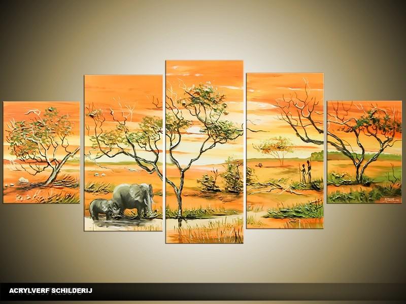 Acryl Schilderij Afrika | Oranje, Geel | 150x70cm 5Luik Handgeschilderd