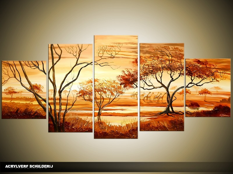 Acryl Schilderij Natuur   Bruin, Oranje   150x70cm 5Luik Handgeschilderd