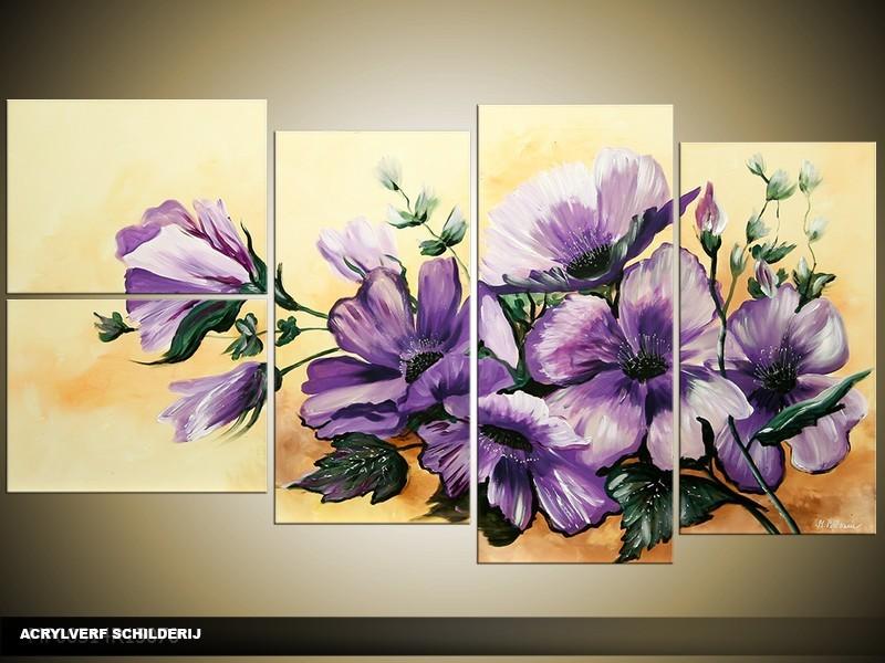Acryl Schilderij Natuur | Paars, Crème | 130x70cm 5Luik Handgeschilderd