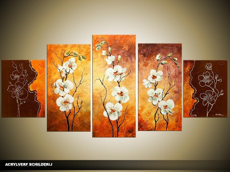 Acryl Schilderij Modern   Oranje, Bruin   150x70cm 5Luik Handgeschilderd