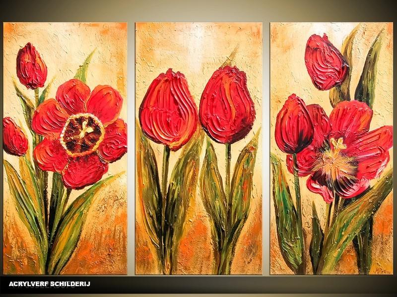 Acryl Schilderij Tulp | Rood, Crème, Groen | 120x80cm 3Luik Handgeschilderd
