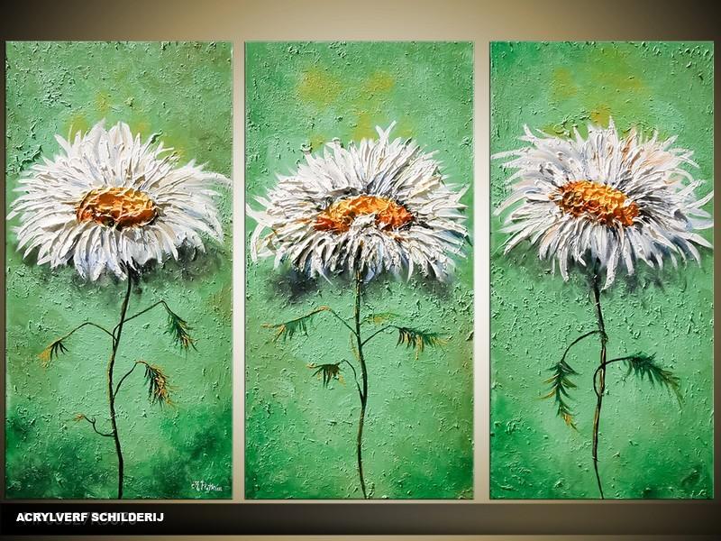 Acryl Schilderij Natuur | Groen, Grijs | 120x80cm 3Luik Handgeschilderd