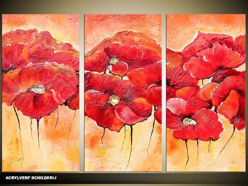 Acryl Schilderij Klaproos | Rood, Geel | 120x80cm 3Luik Handgeschilderd
