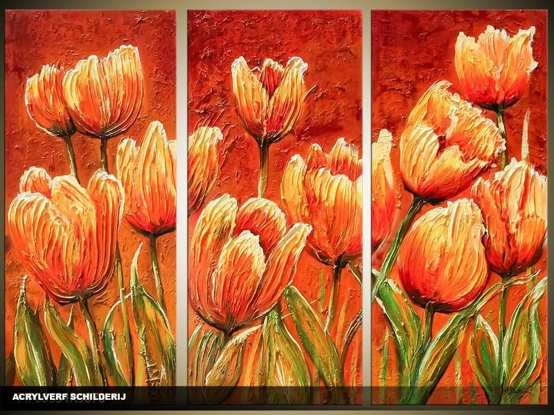 Acryl Schilderij Tulp | Rood, Oranje | 120x80cm 3Luik Handgeschilderd