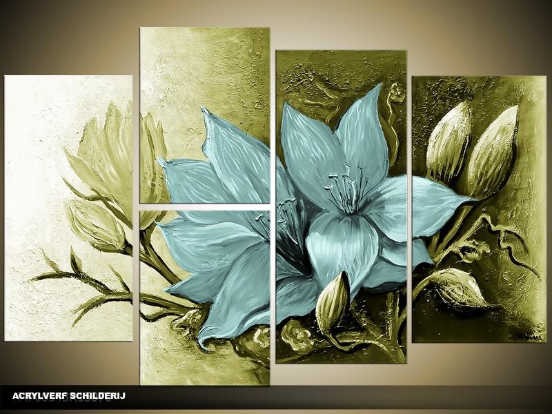 Acryl Schilderij Magnolia | Blauw, Groen | 120x80cm 5Luik Handgeschilderd