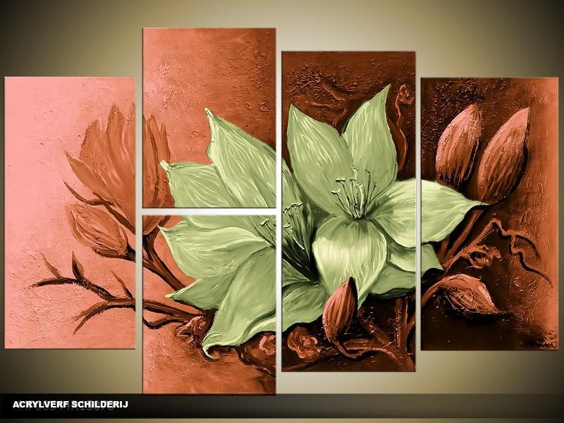 Acryl Schilderij Magnolia | Groen | 120x80cm 5Luik Handgeschilderd