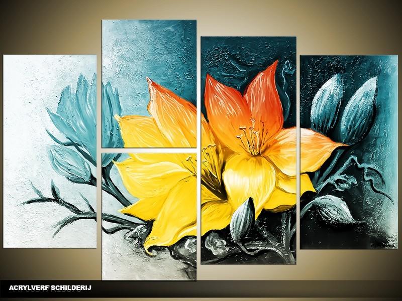 Acryl Schilderij Magnolia | Blauw, Geel | 120x80cm 5Luik Handgeschilderd