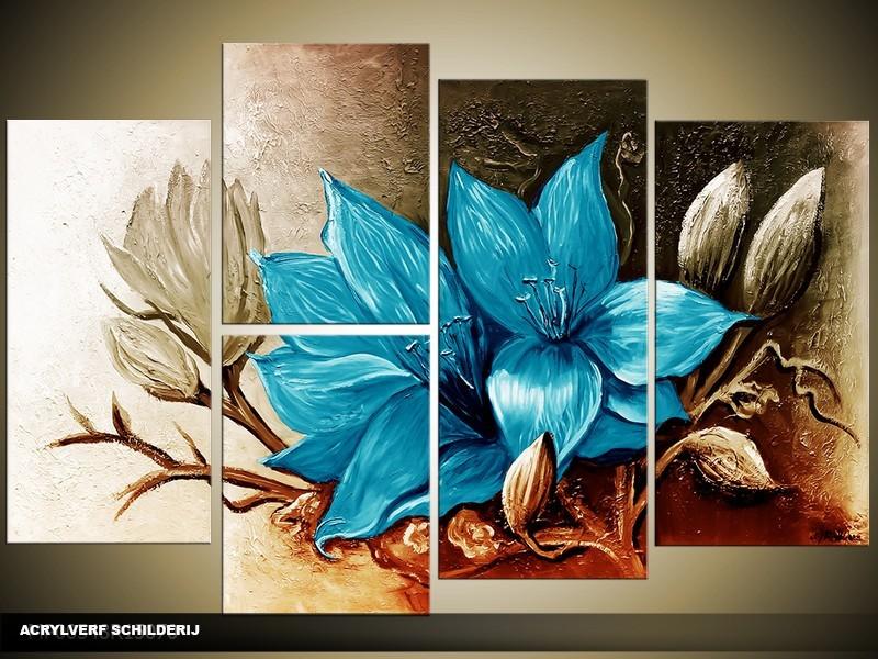 Acryl Schilderij Magnolia | Blauw, Grijs | 120x80cm 5Luik Handgeschilderd