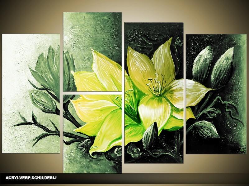 Acryl Schilderij Magnolia | Groen, Geel | 120x80cm 5Luik Handgeschilderd