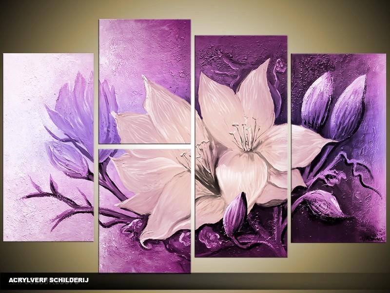 Acryl Schilderij Magnolia | Paars | 120x80cm 5Luik Handgeschilderd