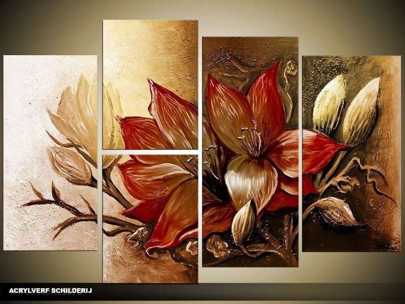 Acryl Schilderij Magnolia | Bruin | 120x80cm 5Luik Handgeschilderd