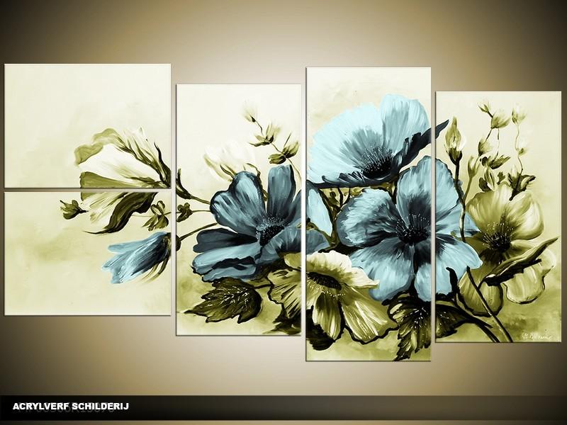 Acryl Schilderij Bloemen | Blauw, Groen | 130x70cm 5Luik Handgeschilderd