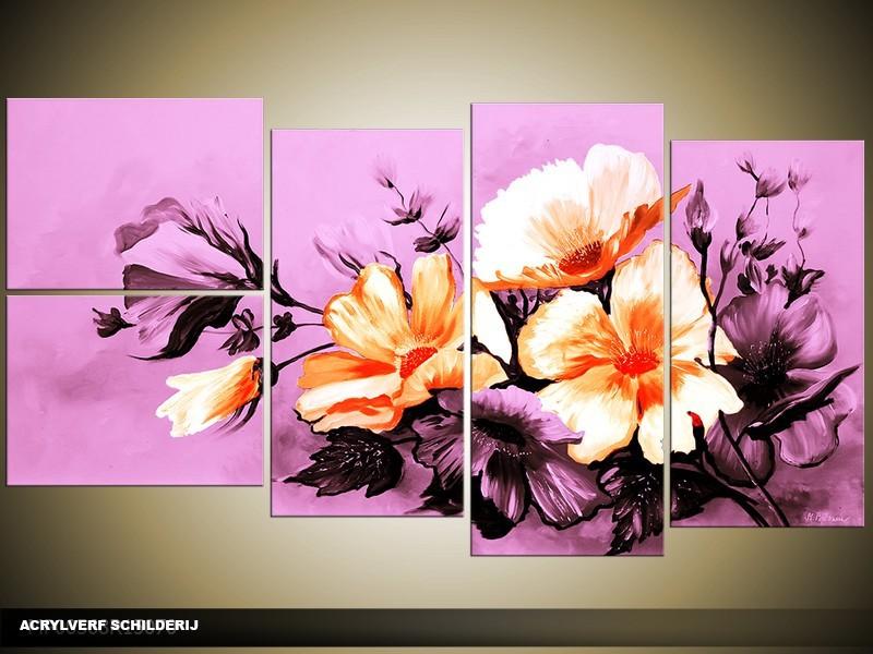 Acryl Schilderij Bloemen | Paars | 130x70cm 5Luik Handgeschilderd