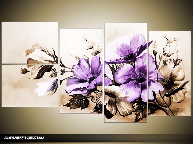 Acryl Schilderij Bloemen | Paars, Bruin | 130x70cm 5Luik Handgeschilderd