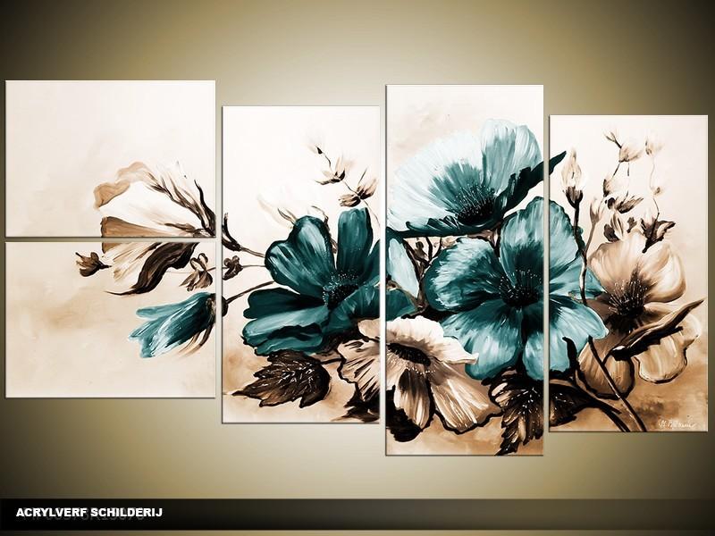 Acryl Schilderij Bloemen | Bruin, Turquoise | 130x70cm 5Luik Handgeschilderd