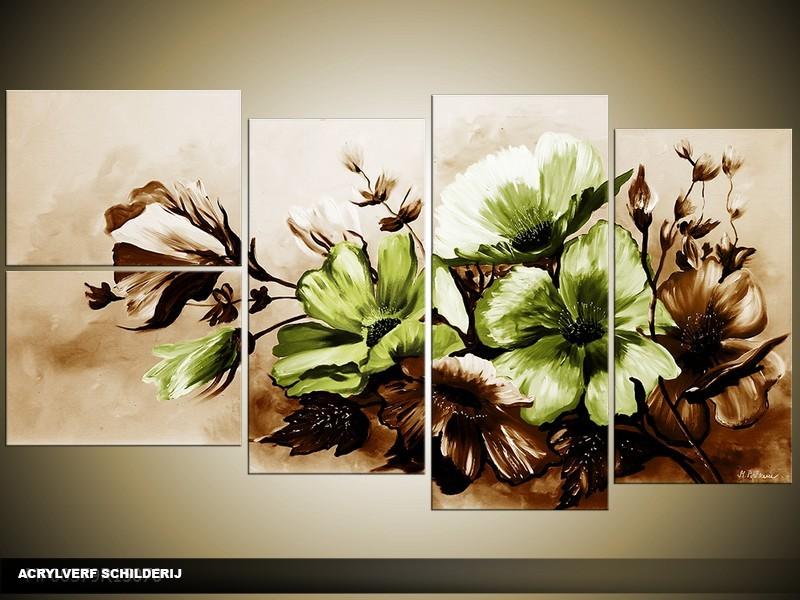 Acryl Schilderij Bloemen | Bruin, Groen | 130x70cm 5Luik Handgeschilderd