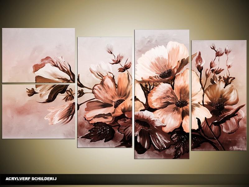 Acryl Schilderij Bloemen   Bruin   130x70cm 5Luik Handgeschilderd