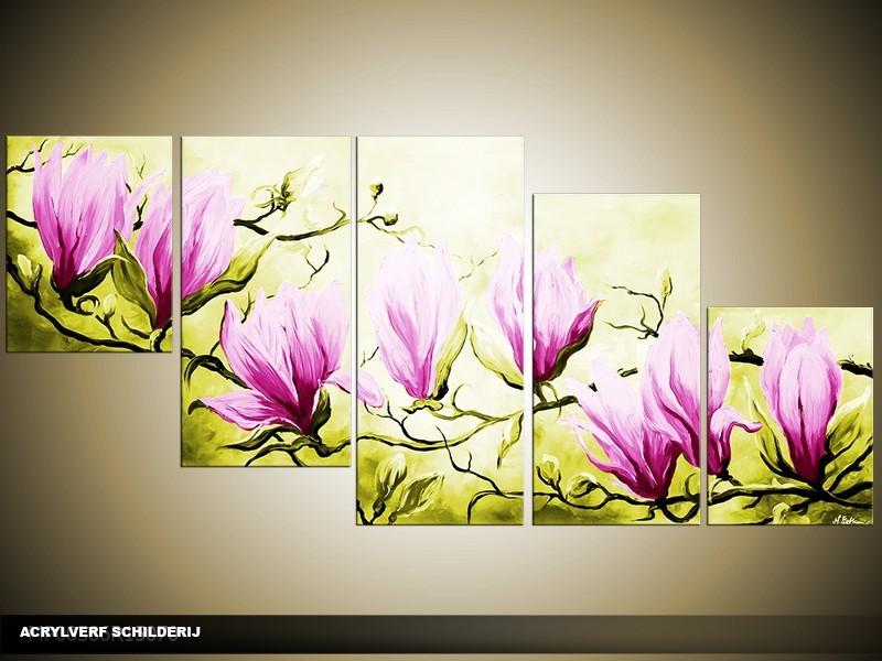 Acryl Schilderij Magnolia | Roze, Groen | 150x70cm 5Luik Handgeschilderd