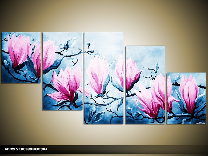 Acryl Schilderij Magnolia | Blauw, Roze | 150x70cm 5Luik Handgeschilderd