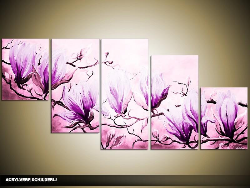 Acryl Schilderij Magnolia | Paars | 150x70cm 5Luik Handgeschilderd