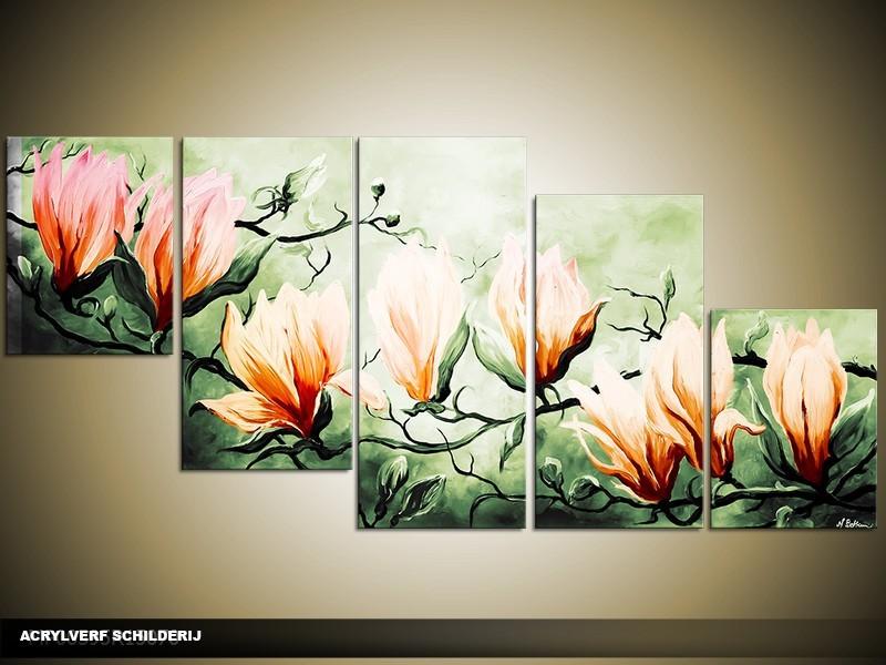 Acryl Schilderij Magnolia | Oranje, Groen | 150x70cm 5Luik Handgeschilderd
