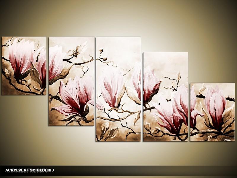 Acryl Schilderij Magnolia | Bruin | 150x70cm 5Luik Handgeschilderd