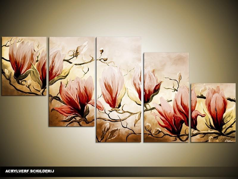 Acryl Schilderij Magnolia | Bruin, Geel | 150x70cm 5Luik Handgeschilderd