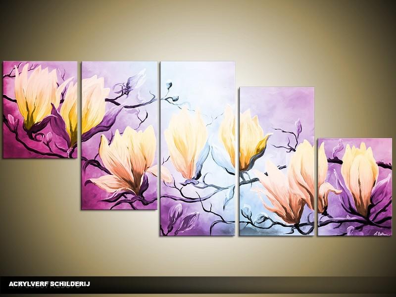 Acryl Schilderij Magnolia | Paars, Blauw, Geel | 150x70cm 5Luik Handgeschilderd