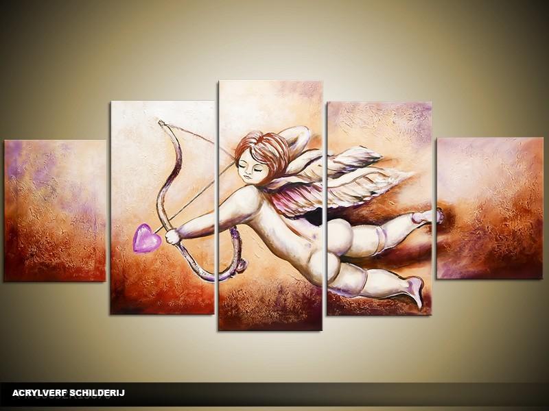 Acryl Schilderij11| Bruin, Paars | 150x70cm 5Luik Handgeschilderd