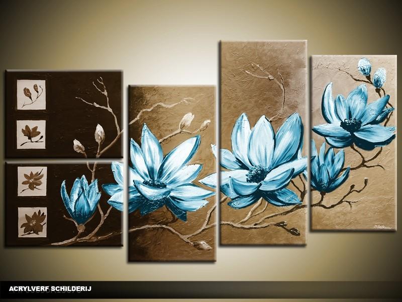 Acryl Schilderij Magnolia | Blauw, Bruin | 130x70cm 5Luik Handgeschilderd