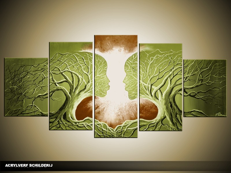 Acryl Schilderij Modern | Bruin, Groen | 150x70cm 5Luik Handgeschilderd