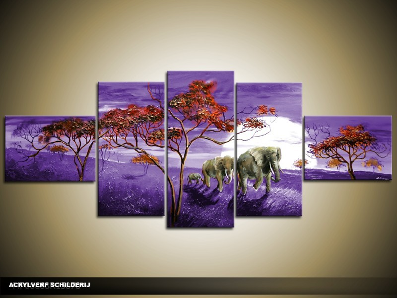 Acryl Schilderij Natuur | Paars, Rood | 170x70cm 5Luik Handgeschilderd