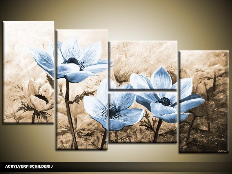 Acryl schilderij woonkamer blauw bruin for Schilderij woonkamer